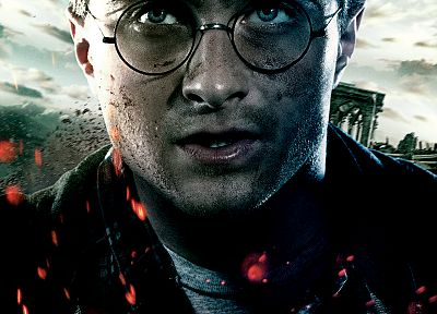 Harry Potter, Harry Potter and the Deathly Hallows, Daniel Radcliffe, movie posters, men with glasses - desktop wallpaper