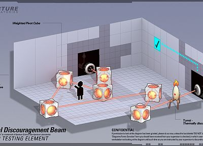 video games, Valve Corporation, Portal, Instructions, Aperture Laboratories, beams - desktop wallpaper