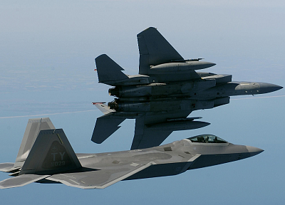 aircraft, military, F-22 Raptor, planes, F-15 Eagle - random desktop wallpaper
