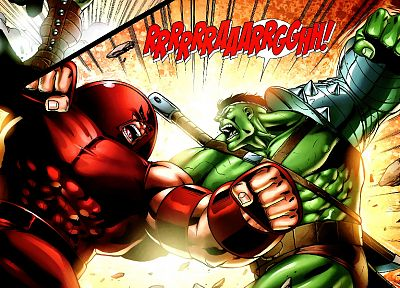 Hulk (comic character), fighting, Juggernaut, Marvel Comics - random desktop wallpaper