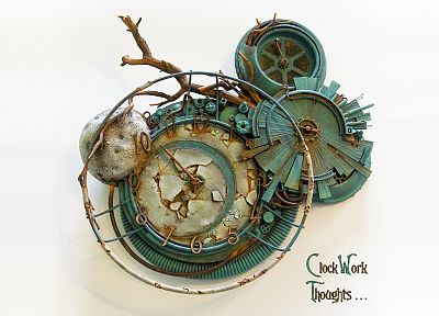 blue, broken, clocks, gears, dial, rusted, watches, branches, white background - desktop wallpaper