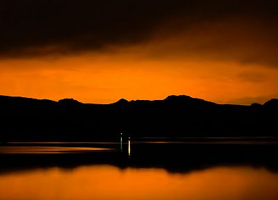 sunset, hills, lakes, reflections, Lake Mohave - desktop wallpaper