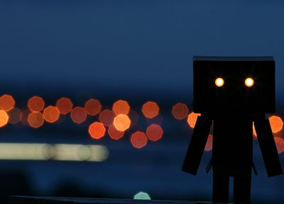 silhouettes, bokeh, Danboard, glowing eyes - random desktop wallpaper