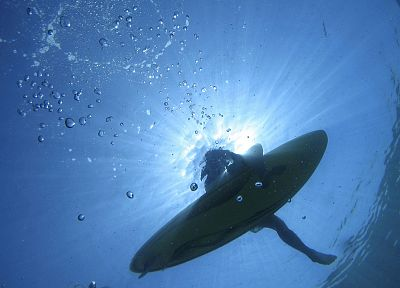 water, bubbles, swimming, sunlight, surfboards, underwater - random desktop wallpaper