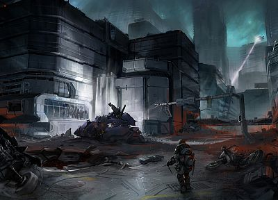 soldiers, video games, ruins, futuristic, Halo, Halo ODST, artwork - random desktop wallpaper