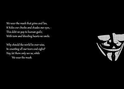 quotes, masks, Guy Fawkes, black background - random desktop wallpaper