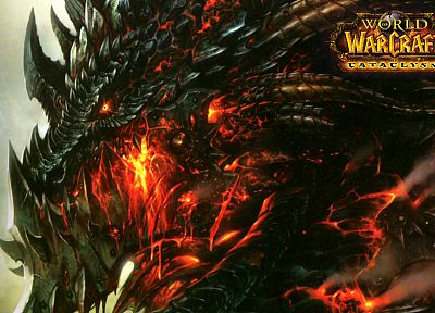 dragons, World of Warcraft, deathwing, Blizzard Entertainment, World of Warcraft: Cataclysm, blizzard - random desktop wallpaper