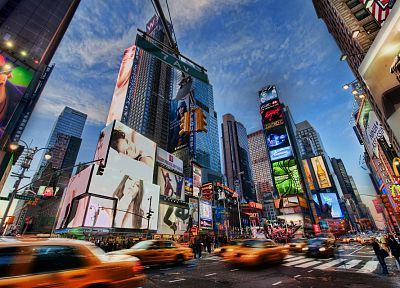 cityscapes, New York City, Times Square, motion blur, billboard - related desktop wallpaper