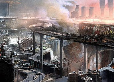 ruins, cityscapes, destruction, science fiction, post apocalyptic - related desktop wallpaper