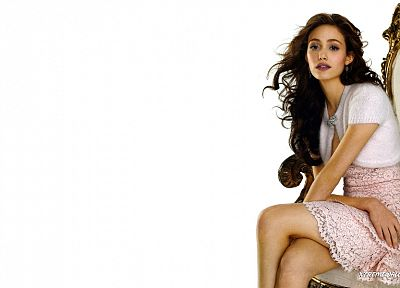 brunettes, women, dress, actress, long hair, celebrity, Emmy Rossum, white background - related desktop wallpaper