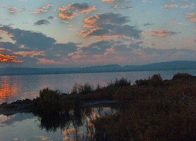 sunset, clouds, Hungary, Lake Balaton - desktop wallpaper