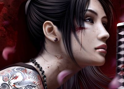 tattoos, women, katana, koi, Mario Wibisono, swords - random desktop wallpaper