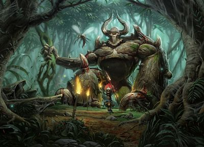 video games, jungle, PC, Golem, artwork, Diablo II, games, pc games - random desktop wallpaper