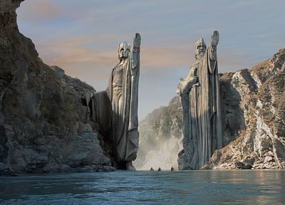 movies, The Lord of the Rings, Argonath, statues, JRR Tolkien, The Fellowship of the Ring - related desktop wallpaper