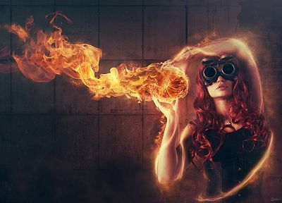 women, flames, fire, digital art, Anne, photo manipulation, Roderique Arisiaman aka Dracorubio, fire dancing, fireball, burning - desktop wallpaper