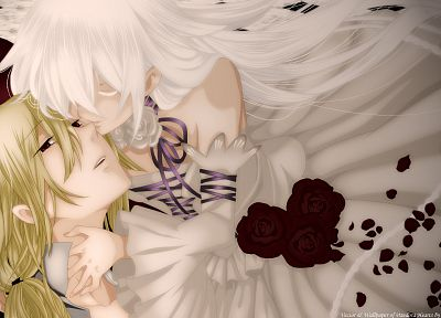 blondes, white, flowers, ribbons, red eyes, Pandora Hearts, anime, white hair, Xerxes Break, Will of the Abyss - related desktop wallpaper