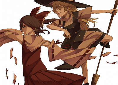 brunettes, blondes, witch, video games, Touhou, dress, skirts, long hair, ribbons, Miko, black eyes, yellow eyes, brooms, Kirisame Marisa, Hakurei Reimu, bows, red dress, grin, black dress, open mouth, ponytails, aprons, profile, hats, Japanese clothes, s - related desktop wallpaper