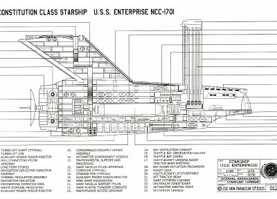 Star Trek, USS Enterprise, Star Trek schematics - related desktop wallpaper