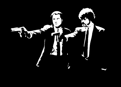 black and white, Pulp Fiction, Samuel L. Jackson, John Travolta, black background - related desktop wallpaper