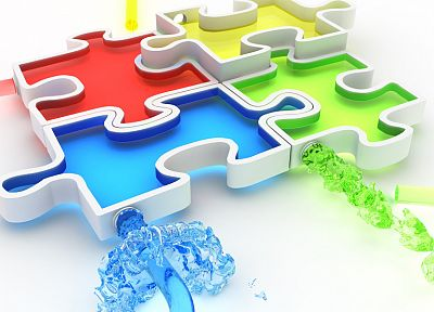water, CGI, puzzles, chromatic, jigsaw, K3 Studio - desktop wallpaper