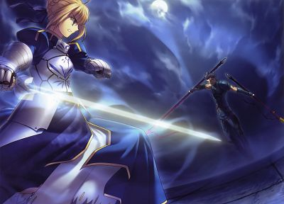 blondes, Fate/Stay Night, weapons, Type-Moon, Saber, Fate/Hollow Ataraxia, Lancer (Fate/stay night), Fate series - random desktop wallpaper