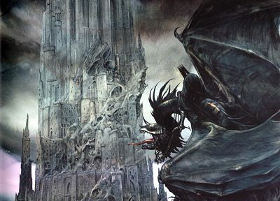 Minas Tirith, The Lord of the Rings, Gondor, The Witch King, ringwraith - random desktop wallpaper