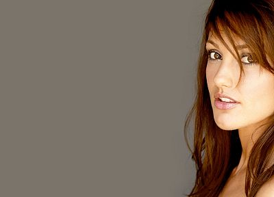 women, eyes, Minka Kelly, simple background - related desktop wallpaper