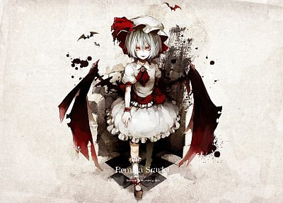 video games, Touhou, wings, vampires, short hair, white hair, hats, Remilia Scarlet, bats - random desktop wallpaper