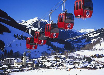 mountains, snow, Austria, snow landscapes, Cable Car, Saalbach-Hinterglemm - desktop wallpaper