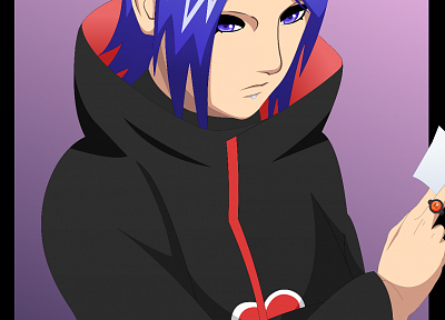 vectors, Naruto: Shippuden, Akatsuki, blue hair, Konan, simple background, flower in hair - desktop wallpaper