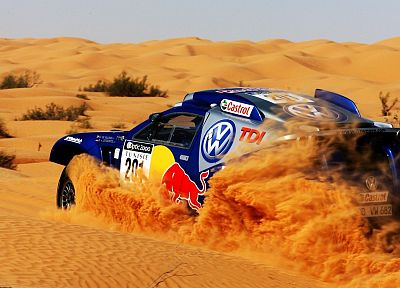 deserts, rally, Volkswagen, Red Bull - desktop wallpaper
