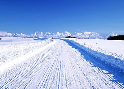 landscapes, winter, snow, roads - related desktop wallpaper