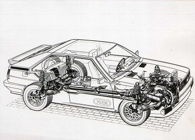 Audi, vehicles, cutaway, Quattro, German cars - random desktop wallpaper