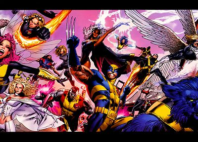 comics, X-Men, Wolverine, Marvel Comics, Archangel, Cyclops, Storm (comics character), Hank McCoy (Beast) - desktop wallpaper