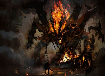 video games, demons, Aion, concept art, chains - desktop wallpaper