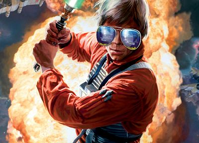 Star Wars, orange, lightsabers, glasses, Luke Skywalker, aviator - desktop wallpaper