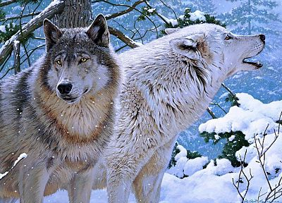 nature, animals, artwork, wolves, paintwork - desktop wallpaper