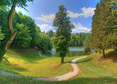 landscapes, nature, trees, grass, paths, lakes - related desktop wallpaper