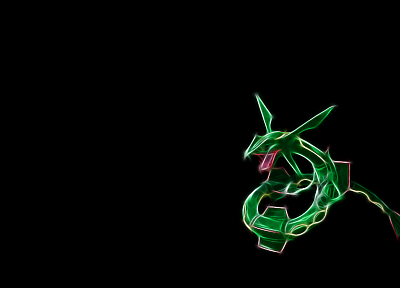 Pokemon, Fractalius, simple background, black background, Rayquaza - random desktop wallpaper
