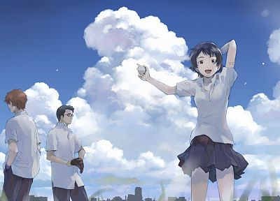 school uniforms, The Girl Who Leapt Through Time, Makoto, Konno Makoto, Chiaki Mamiya, Kosuke Tsuda - desktop wallpaper