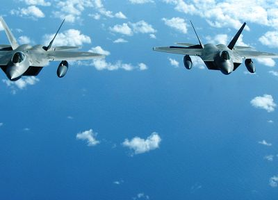 clouds, aircraft, flying, F-22 Raptor, vehicles, skyscapes - related desktop wallpaper