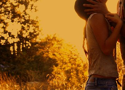 women, yellow, vintage, orange, fields, gold, golden, dust, couple, guy - random desktop wallpaper
