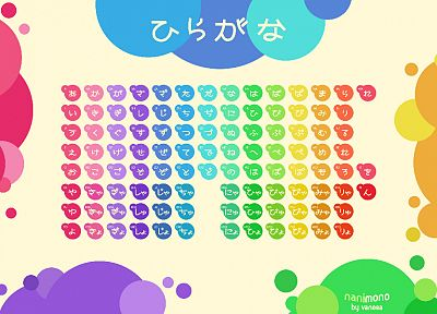 Japanese, circles, tables, typography, rainbows, hiragana - related desktop wallpaper