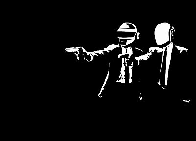 Daft Punk, Pulp Fiction, black background - desktop wallpaper