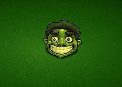 Hulk (comic character), artwork, green background - desktop wallpaper