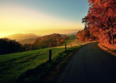 sunset, landscapes, nature, trees, autumn, hills, roads - desktop wallpaper