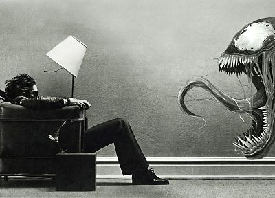 Venom, lamps, advertisement, Marvel Comics, Maxell - desktop wallpaper