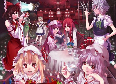 video games, Touhou, wings, maids, Izayoi Sakuya, devil, vampires, Miko, Kirisame Marisa, Hakurei Reimu, Flandre Scarlet, Koakuma, Hong Meiling, Patchouli Knowledge, hats, Remilia Scarlet, Embodiment of Scarlet Devil, detached sleeves, witches, Scarlet De - random desktop wallpaper