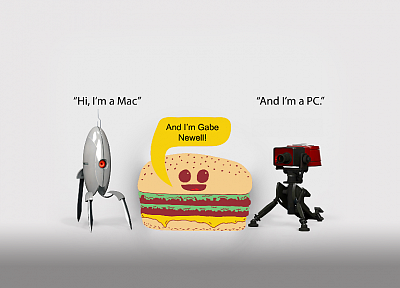 Portal, Mac, funny, PC, Team Fortress 2, Gabe Newell, hamburgers, fun - related desktop wallpaper