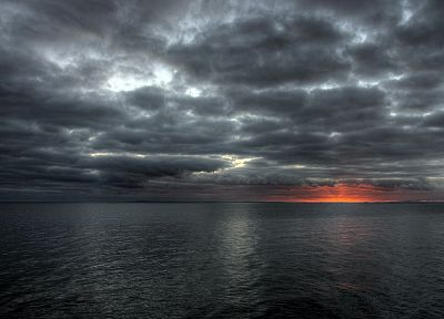 water, sunset, clouds, nature, sea - desktop wallpaper